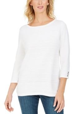 Karen Scott Ribbed 3/4-Sleeve Sweater, Created for Macy's