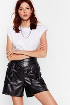 Womens It'll Faux Leather Work High-Waisted Utility Shorts - black - 6