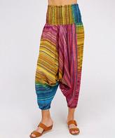 Simply Boho La Simply Boho LA Women's Casual Pants RAINBOW - Rainbow Stripe Harem Pants - Women