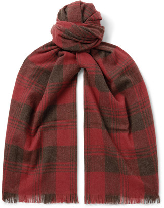 Ralph Lauren RRL Wyatt Fringed Checked Wool And Cashmere-Blend Scarf