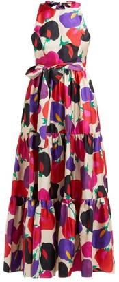 La DoubleJ Pellicano Americano-print Silk Maxi Dress - Womens - Pink Multi