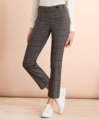 Brooks Brothers Plaid Stretch-Wool Cropped Pants