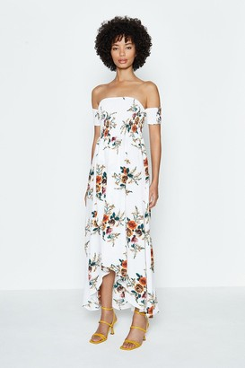Coast Floral Shirred Bodice Bardot Dress