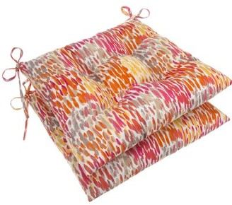 Highland Dunes Tufted Indoor/Outdoor Dining Chair Cushion Fabric: Orange