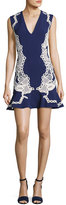Jonathan Simkhai Truss Lace Appliqué V-Neck Flounce Dress