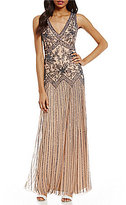 Pisarro Nights V-Neck Sleeveless Beaded Gown