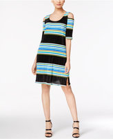 NY Collection Striped Pleated Cold-Shoulder Dress