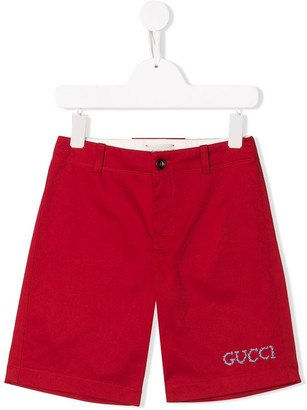 Gucci Kids Embroidered Logo Shorts