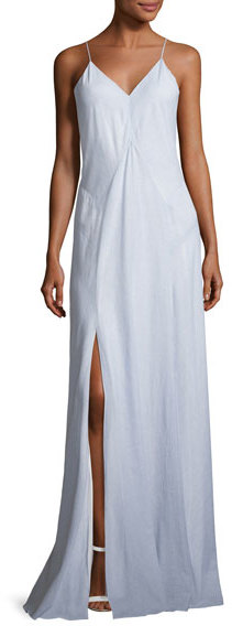 Haute Hippie Clara Sleeveless Stripe Cotton Gown, Blue