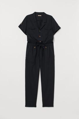 H&M H&M+ Linen-blend Jumpsuit - Black