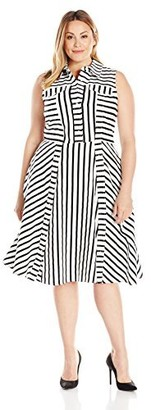 Julia Jordan Women's Plus Size Striped Shirt Dresss Iovry/black 22W