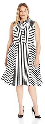 Julia Jordan Women's Plus Size Striped Shirt Dresss Iovry/black 22W