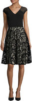 London Times London Style Collection Cap-Sleeve Illusion-Neck Fit-and-Flare Dress