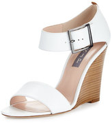 Sarah Jessica Parker Tate Leather Wedge Sandal, White