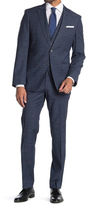 HUGO BOSS Blue Two Button Notch Lapel Wool Blend 3 Piece Suit Set