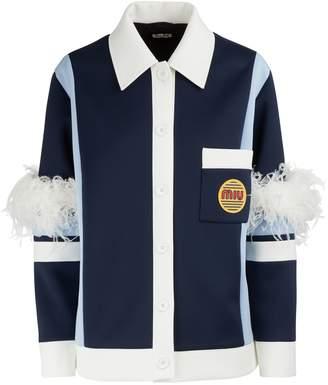 Miu Miu Miu patch jacket with feathers