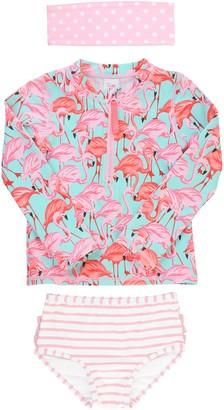 RuffleButts Flamingo Two-Piece Rashguard Swimsuit & Head Wrap Set