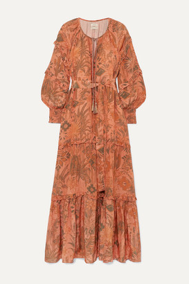 CHUFY Colca Ruffled Tiered Printed Voile Maxi Dress - Orange