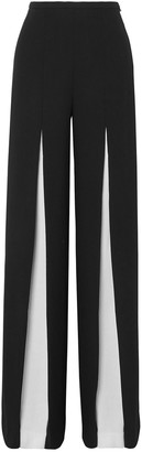 Roland Mouret Burton Two-tone Wool-crepe Wide-leg Pants