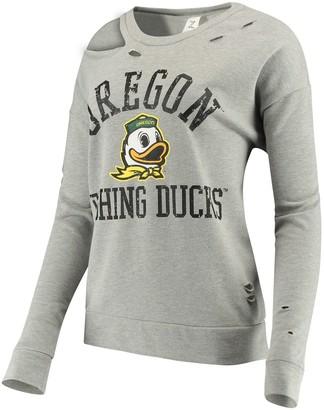 Women's ZooZatz Heathered Gray Oregon Ducks Ripped Pullover Sweatshirt