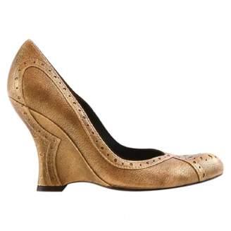 Pura Lopez Gold Leather Heels