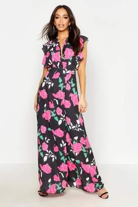 boohoo Woven Rose Print Flutter Sleeve Maxi Dress