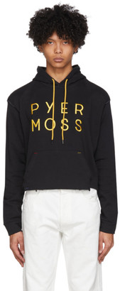 Pyer Moss Black Cropped Logo Hoodie