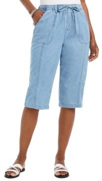 Karen Scott Cropped Cotton Pull-On Denim Pants, Created For Macy's