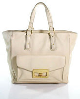 Marc by Marc Jacobs Beige Leather Gold Accent Large Tote Handbag