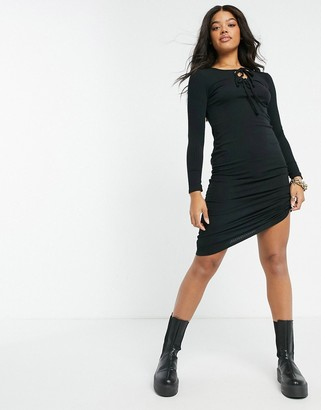 New Look tie-front ribbed midi dress in black