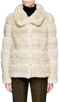 Yves Salomon Leather trim stripe panels rabbit fur coat