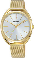 Pulsar Womens Crystal-Accent Gold-Tone Mesh Bracelet Watch