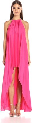 Halston Women's Sleeveless High Neck Pleated Hi-Low Dress