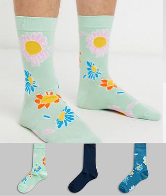 Asos DESIGN 3 pack ankle sock in floral design