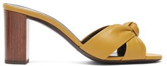 Saint Laurent Bianca Knotted Leather And Wood Mules - Dark Yellow