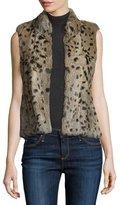 Joie Merwyn Leopard-Print Rabbit Fur Vest