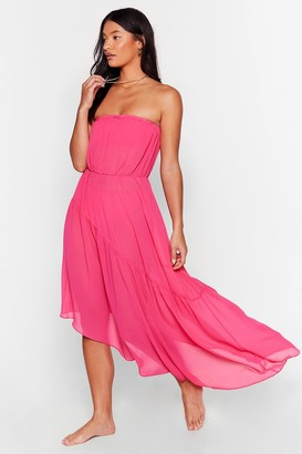 Nasty Gal Womens Runnin' in Flow Motion Strapless Cover-Up Dress - Pink - 6, Pink