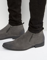 Asos Chelsea Boots In Grey With Zip