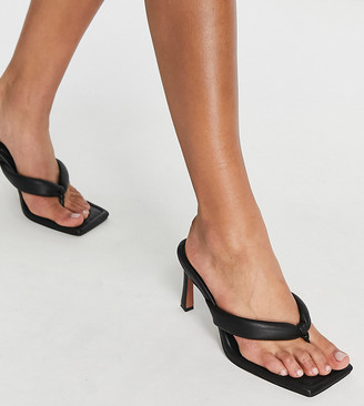 ASOS DESIGN Wide Fit Haven padded toe thong heeled sandals in black