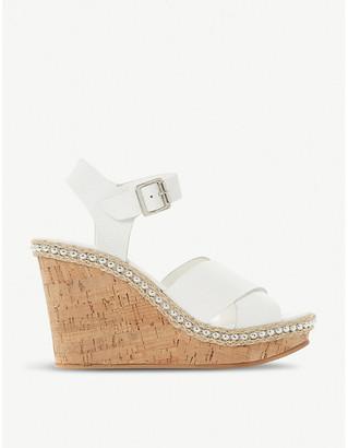 Dune Karena stud wedge heel leather sandals