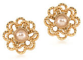 Carolee Union Square 12K Goldplated Suede Faux Pearl Stud Earrings
