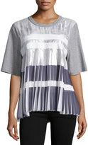 Public School Ezra Short-Sleeve Pleated Top, Gray