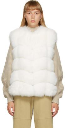 Yves Salomon White Fur Vest