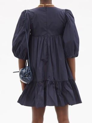 RED Valentino Square-neck Taffeta Mini Dress - Navy