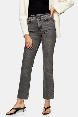 Topshop Wash Black Raw Waistband Straight Jeans