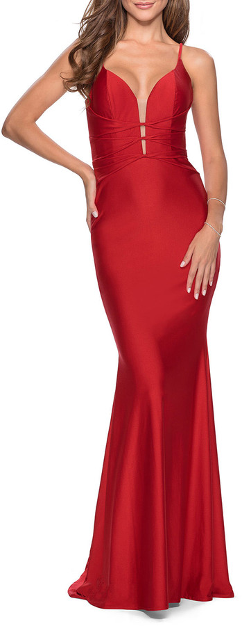 La Femme Strappy Lace-Up Back Jersey Bodycon Dress