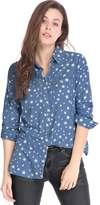 Allegra K Women's Star Long Sleeves Button Up Tunic Denim Shirt L