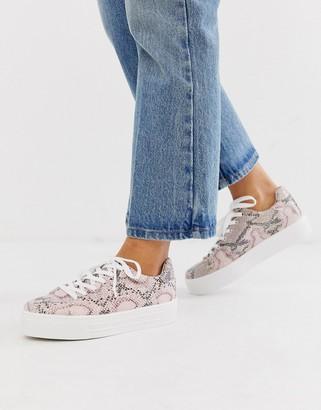 Miss Selfridge sneakers in pink snake