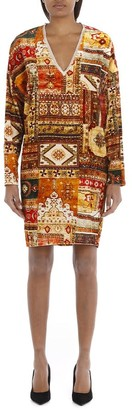 Mes Demoiselles Abstract Pattern Print Silk Dress
