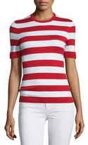 Michael Kors Short-Sleeve Striped Cashmere Top, Crimson